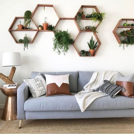 wood hexagon displays with greenery inside modern blue sofa with throw pillows