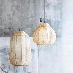 Ariel Rattan Pendant With Creamy White Interior Lampshade