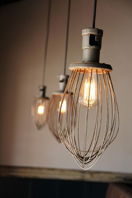 DIY industrial rustic pendant lighting made of upcycled whisk