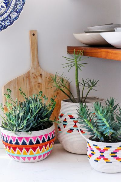 DIY painted rope baskets for suculants