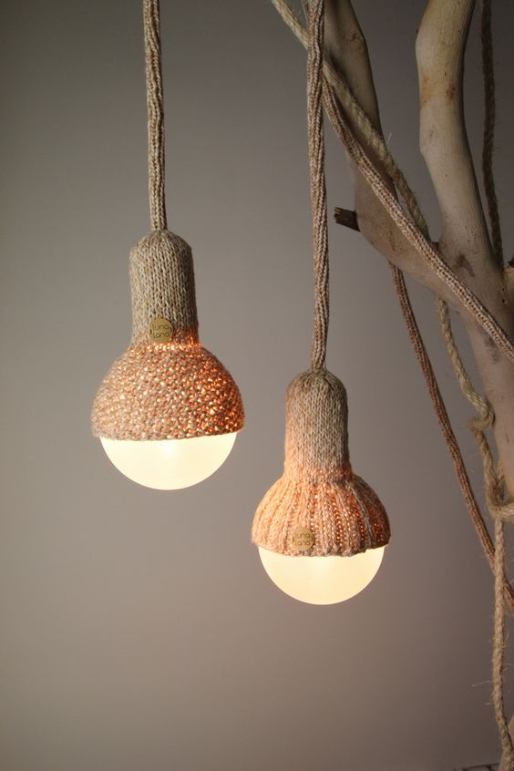 Luna Lana light fixtures with woven lamp fitting