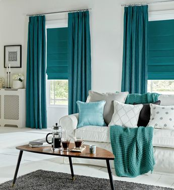 Marrs Green blinds and curtains white sofa slipcover knitted throw blanket in teal triangle shaped coffee table gray area rug
