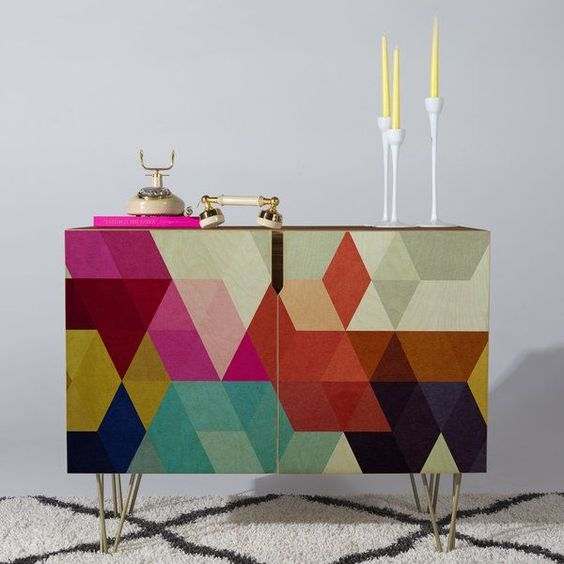 accent cabinet with pop of color door and hairpin legs