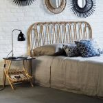 Bed Frame With Rattan Headboard Rattan Bedside Table Industrial Table Lamp In Black Gray Bed Linen Ornate Wall Mirrors With Beautiful Frames