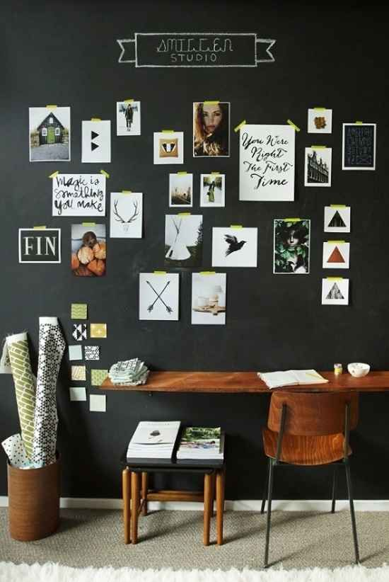 black wall as mini studio for photographs notes and schedules dark wood working desk dark wood working chair with black metal frame