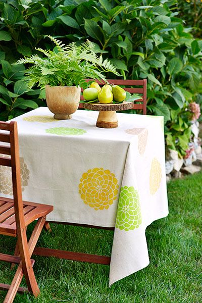 canvas table cloth with colorful flower patterns