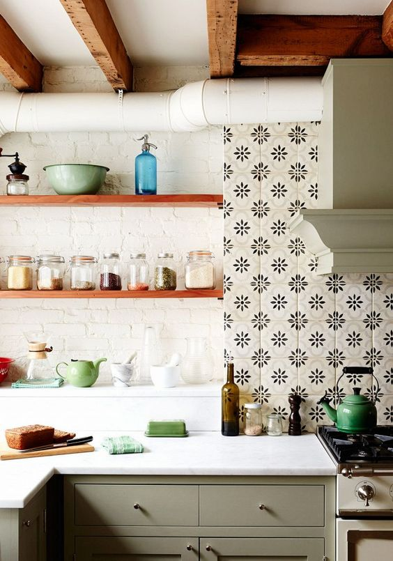 cement tiled backsplash with vintage touch white brick walls wood open shelves exposed wood beams white kitchen cabinetry