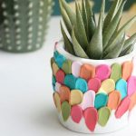 Concrete Planter In White With Colorful Clay Petals For The Accents