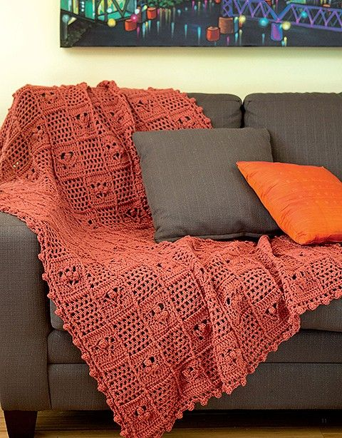 earth colored crochet throw blanket