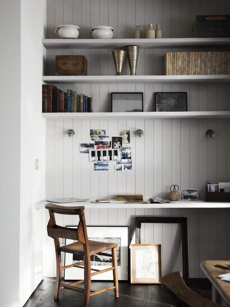 floating work desk in white wood shelves in white wooden chair