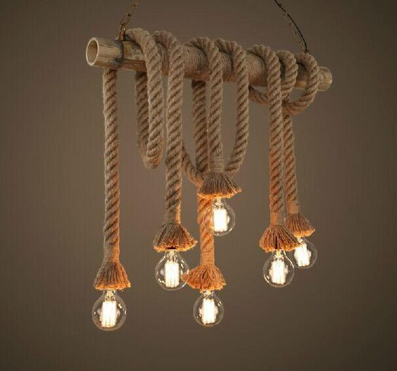 industrial pendant consisting of bamboo ropes and bulbs