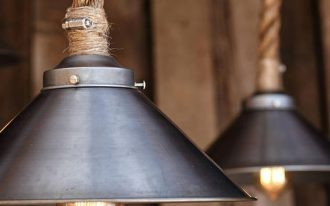 industrial rustic pendant light fixtures with Manila rope and unfinished factory steel