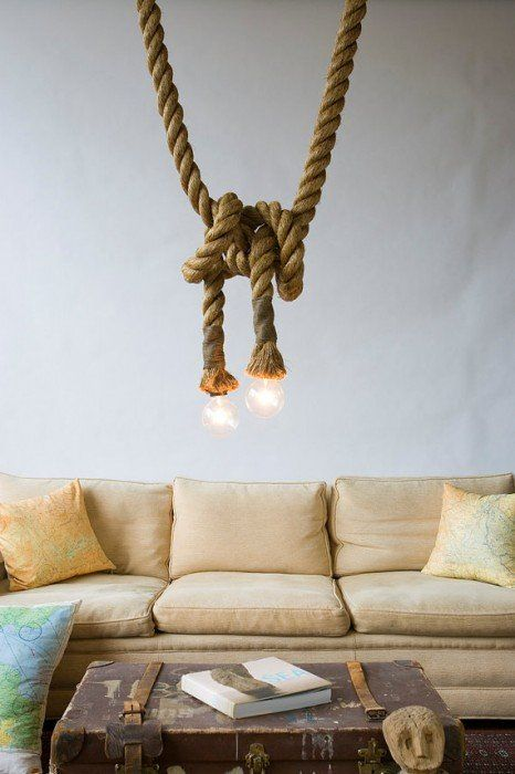 industrial rustic rope lighting idea
