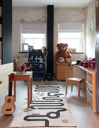kid's room white runner with road map wooden furniture set animal stuff ornate guitar concrete walls