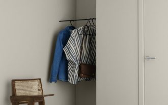 light wood interior midcentury modern wood chair recessed space for cloth hang