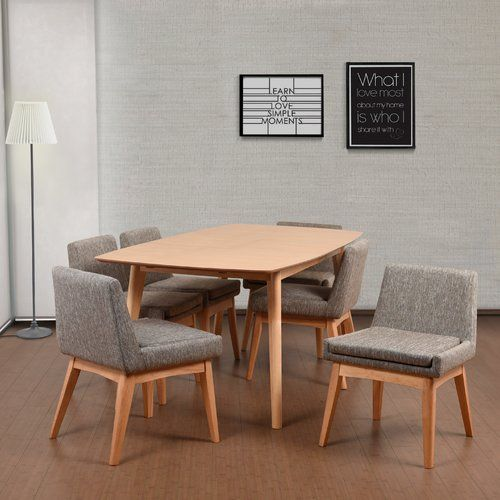 midcentury modern dining furniture set with wood frame and gray cushion