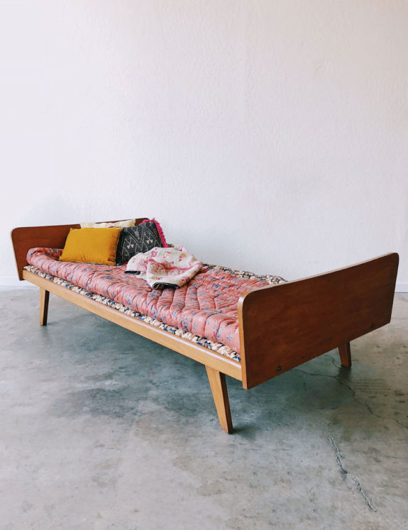 midcentury modern wooden daybed with cushion addition