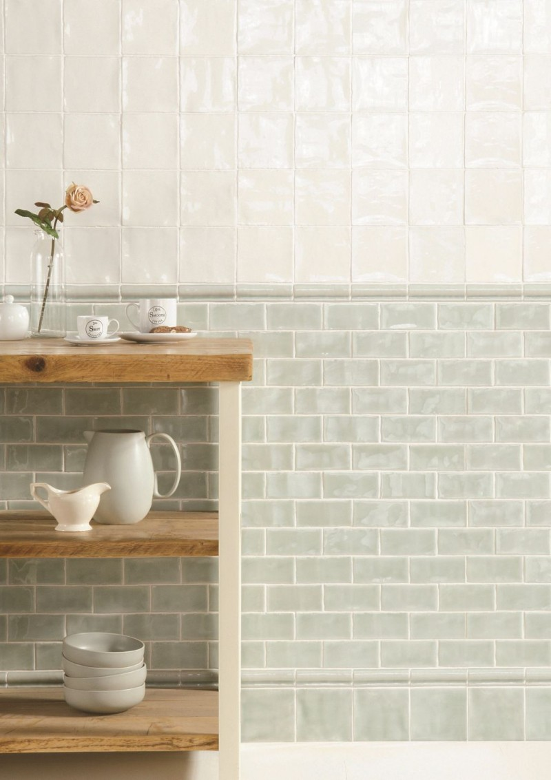 mint green featuring light cream metro tiled walls open wooden shelves for tableware