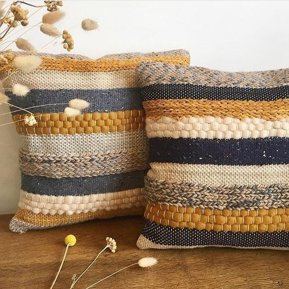 multicolored jute pillows