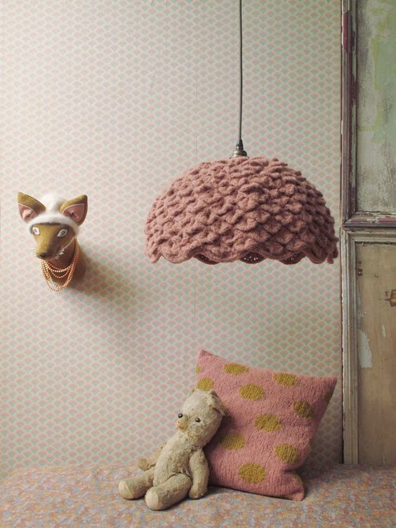 old school hanging lamp with layered knitting cover in pastel pink