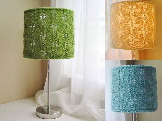 oversized floor lamp with colorful knitted lampshade