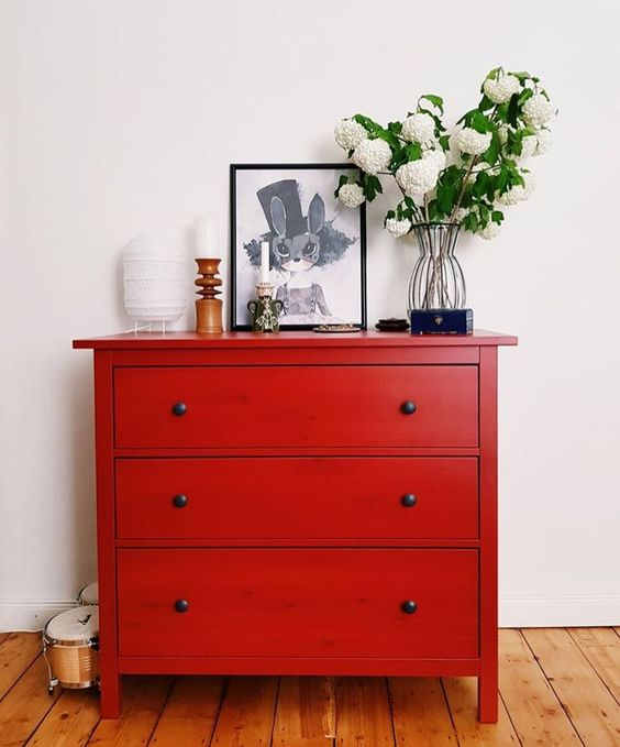 red credenza in vintage style