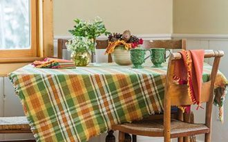 retro tablecloth with colorful stripes