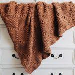 Rust Colored Crochet Throw Blanket