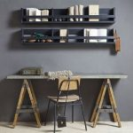 Rustic Home Office Wall Mounted Shelving Unit In Black Working Desk With Tripod Legs Wood Chair With Black Metal Frame
