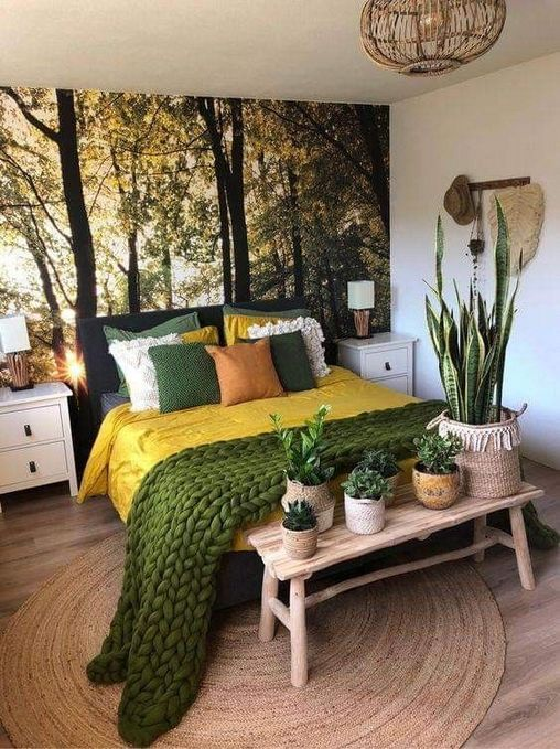 sunny yellow bed linen colorful pillows jute throw in green light wood bench bed with potted house plants round shaped woven rug
