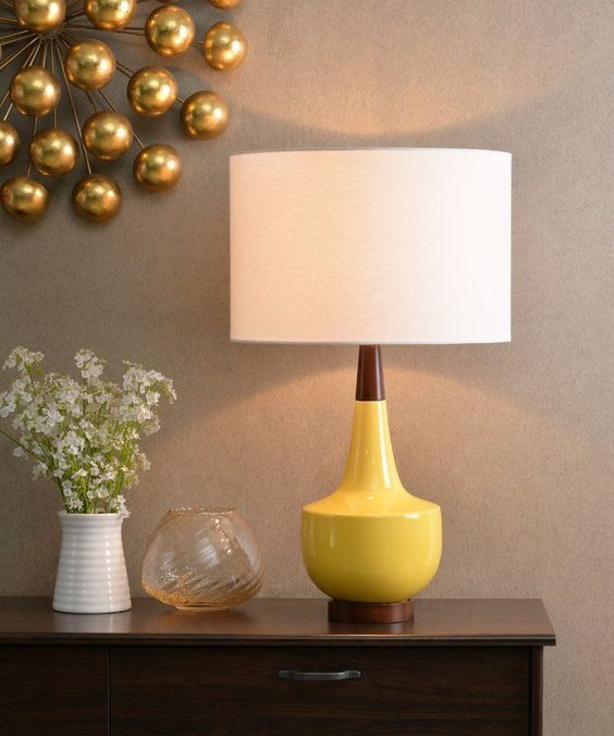table lamp by AllModern with yellow base and white lampshade