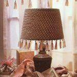Table Lamp With Macrame Like Lampshade Cover Knitting In Brown