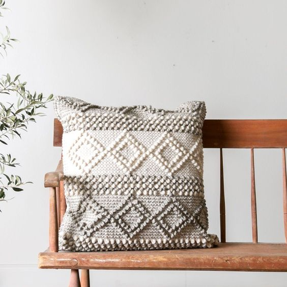 throw pillow in soft and warm shades