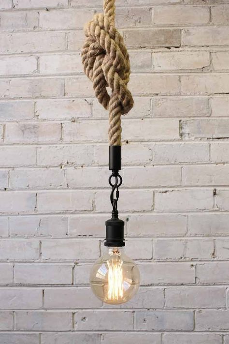 tied rope pendant with black finish hook and fitting of lamp