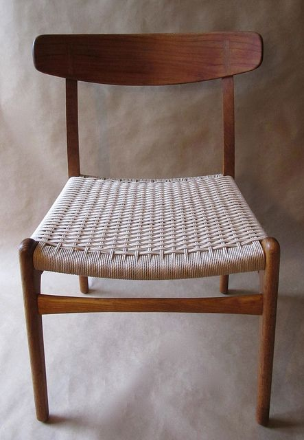 traditional wood chair with woven seat