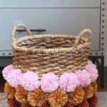 Wicker Basket Planter With Colorful Pom Pom