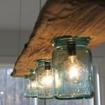 Wood Beam Lighting Fixture With Mason Jar Lampshades