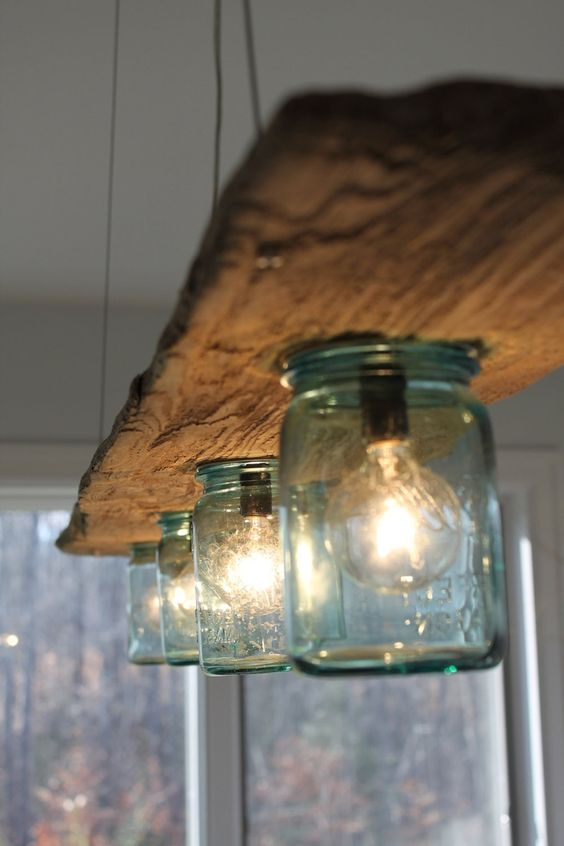 wood beam lighting fixture with mason jar lampshades