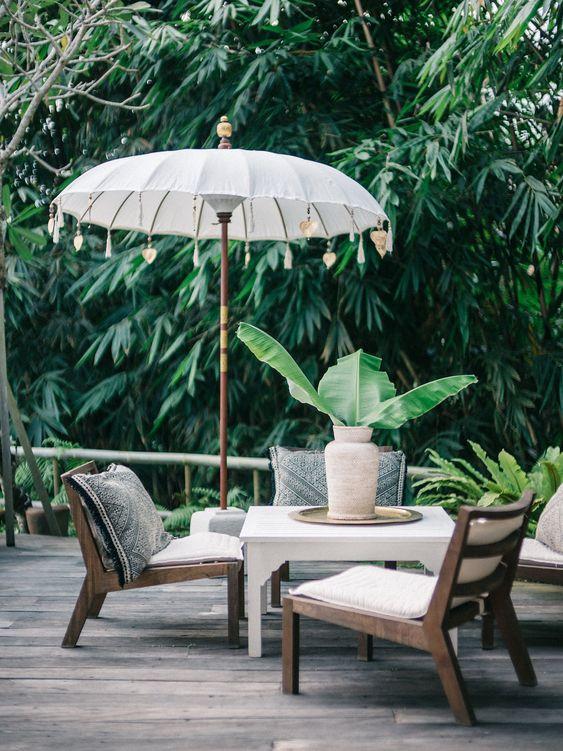 wood umbrella inspired by Balinese wedding decoration hardwood outdoor furniture