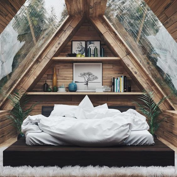 attic bedroom in rustic style superbly huge skylights bed frame with black headboard white bedding treatment centered shelving unit for books and ornaments