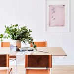 Beachy Style Dining Room With White Wall Panelling White Framed Wall Decor Modern Dining Furniture Set