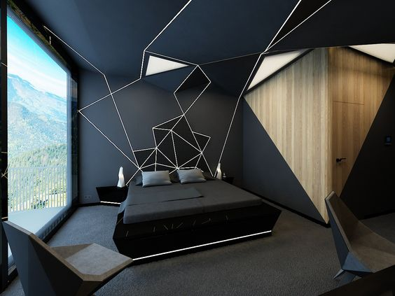 black bed frame black bedding treatment black walls with contemporary motifs extra large glass window