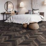 Chevron Shaped Vinyl Flooring In Wood Color