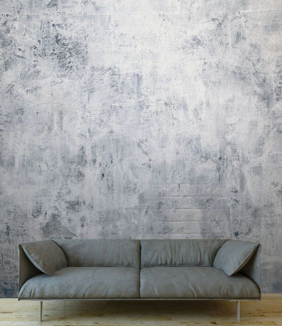 concrete wallpaper in whitewashed effect contemporary sofa in gray