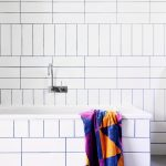 Cross Hatch Patterned Subway Tile Installation With Black Grouts