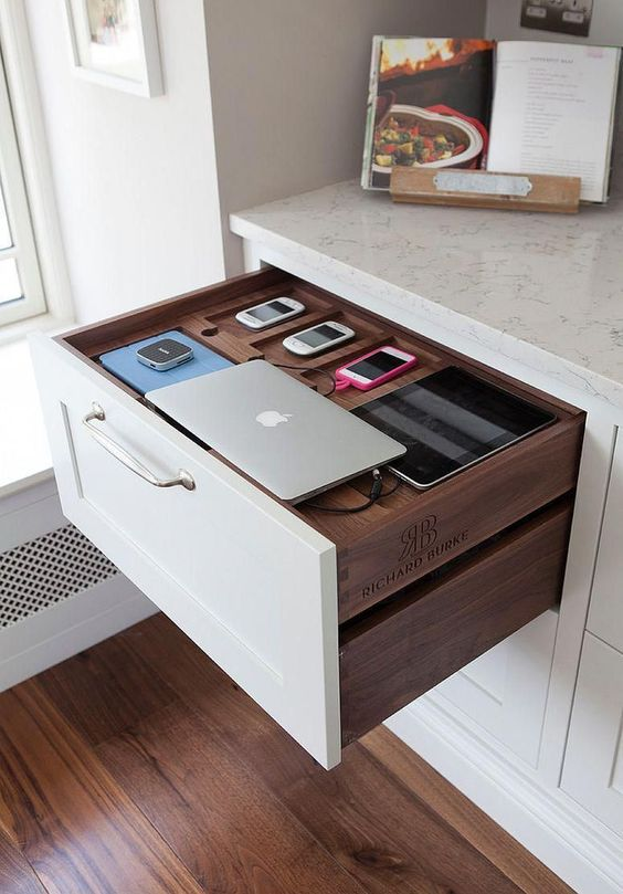 custom pull out drawer with charging station for home office of working space