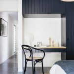 Deep Gray Cladding Wall Wardrobe Study Nook Black Chair Round Shaped Woven Area Rug