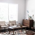 Fluffy And Warm Area Rugs In Vintage Style A Couple Of Chairs Midcentury Modern Coffee Table Corner Cabinets In Midcentury Modern Desk Lamp In Modern Style