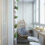 Hanging Rattan Chair With Cushion Built In Table Modern Stools Wall Mounted Greenery