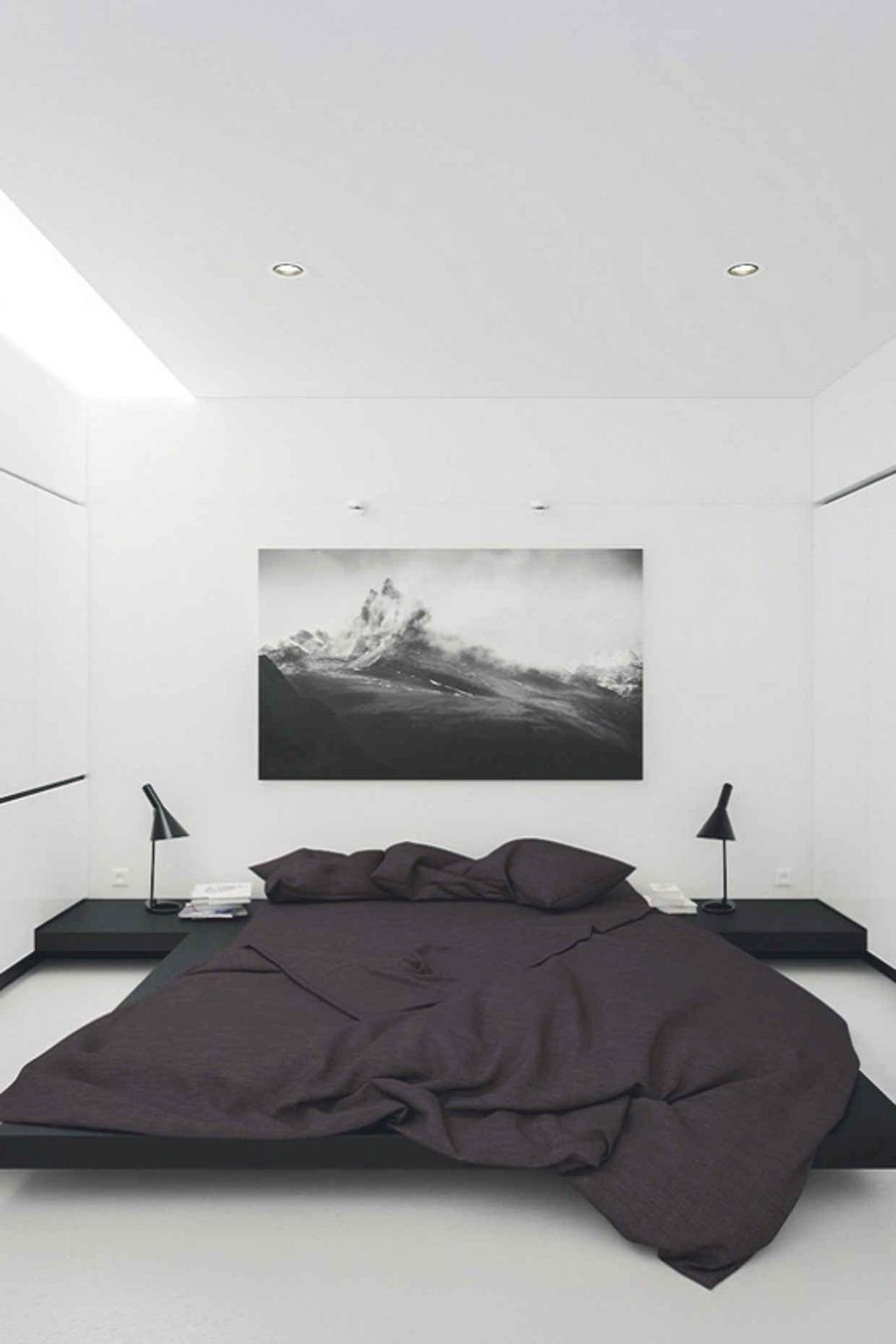 low profile bed frame black bedding treatment build in bedside tables in black wall decor in black and white